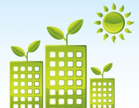 green houses and sun